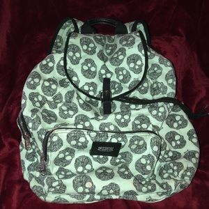 Pink Mint Green Skull Backpack